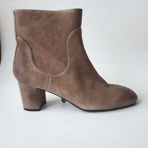 Italian Block Heel Leather Booties